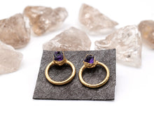 Load image into Gallery viewer, Amethyst Earrings Gold, Raw Amethyst Jewelry, Gold Amethyst Jewelry, Dainty Dangle Earrings, Post Dangle Earrings, Birthstone Gifts Her
