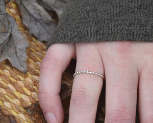 Silver Beaded Ring, Dainty Silver Ring, Sterling Silver Band, Beaded Ring Band, Beaded Ring Handmade, Dainty Stackable Ring, Present Her
