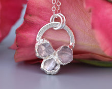 Load image into Gallery viewer, Rose Quartz Silver, Rose Quartz Necklace, Rose Quartz Pendant, Silver Circle Necklace, Raw Silver Jewelry, Romantic Gifts Her, Electroformed