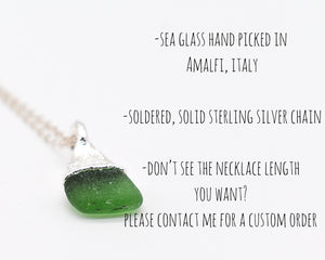 Sea Glass Necklace, Sea Glass Pendant, Sea Glass Jewelry, Elegant Necklace, Rhodium Necklace, Beach Glass Pendants, Italy Gift