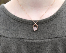 Load image into Gallery viewer, Circle Crystal Necklace, Circle Gemstone Necklace, Circle Necklace Gold, Rose Gold Crystal, Raw Crystal Necklace, Rose Quartz Pendant