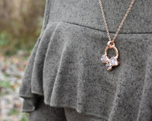 Circle Necklace Gold, Circle Crystal Necklace, Circle Gemstone Necklace, Rose Gold Crystal, Pink Gold Necklace, Rose Quartz Pendant