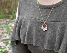 Load image into Gallery viewer, Circle Necklace Gold, Circle Crystal Necklace, Circle Gemstone Necklace, Rose Gold Crystal, Pink Gold Necklace, Rose Quartz Pendant