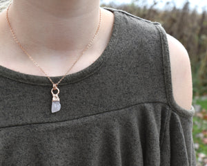 Simple Gem Necklace, Simple Crystal Necklace, Simple Gemstone Necklace, Raw Gem Jewelry, Raw Gem Necklace, Pink Quartz Necklace