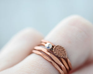 Copper Ring Band, Hammered Copper Jewelry, Copper Leaf Jewelry, Leaf Ring, Hammered Band, Minimalist Band, Dainty Stackable Ring