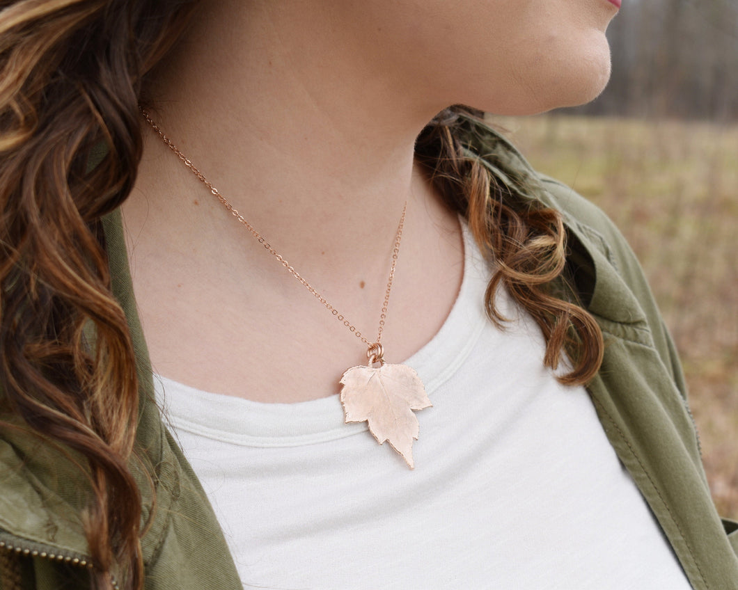 Leaf Pendant, Rose Gold Leaf Necklace, Real Leaf Jewelry, Nature Pendant, Elegant Pendant, Nature Inspired Jewelry, Electroformed