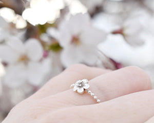 Flower Stacking Rings, Silver Flower Ring, Flower Rings Women, Dainty Stacking Ring, Stacking Band Women, Present Her, Layering Rings