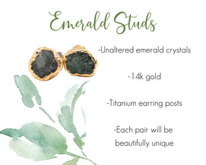 Emerald Studs, Emerald Jewelry Natural, Emerald Earrings Gold, 14k Gold Studs, Crystal Studs, May Birthstone, Birthstone Gifts Her