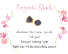 Load image into Gallery viewer, Tanzanite Earrings, Tanzanite Jewelry, Raw Tanzanite Jewelry, 14k Gold Studs, Rough Gold Earring, December Birthstone, Birthstone Earrings