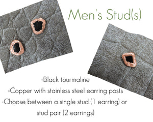 Mens Stud Earrings, Mens Gift Anniversary, Mens Copper Jewelry, Copper Stud Earrings, Modern Stud Earrings, Guy Gift Ideas, Black Studs