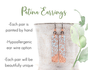 Patina Earrings, Patina Copper Jewelry, Patina Jewelry, Copper Earrings Handmade, Enamel Earrings Handmade, Bohemian Gift Her