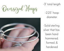 Load image into Gallery viewer, Large Hoop Earrings, Large Hoops, Large Silver Earrings, Oversized Hoops, Sterling Silver Hoops, Hammered Silver Earrings, Present Her