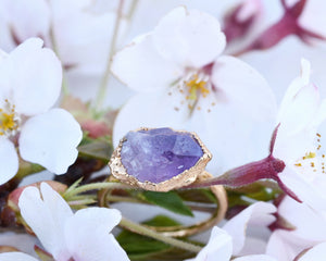 Gold Gem Rings, Raw Gold Ring, 14k Gold Plated, Raw Gem Jewelry, Raw Gem Ring, Raw Amethyst Jewelry, February Birthstone, Gold Cocktail Ring