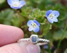 Load image into Gallery viewer, Dainty Sapphire Ring, Dainty Gemstone Jewelry, Dainty Silver Ring, Raw Sapphire Jewelry, Sapphire Birthstone, Twisted Wire Ring