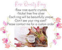 Load image into Gallery viewer, Pink Quartz Ring, Pink Crystal Ring, Light Pink Jewelry, Rose Quartz Jewelry, Raw Quartz Jewelry, Romantic Gifts Her, Promise Ring Her