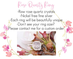 Pink Quartz Ring, Pink Crystal Ring, Light Pink Jewelry, Rose Quartz Jewelry, Raw Quartz Jewelry, Romantic Gifts Her, Promise Ring Her