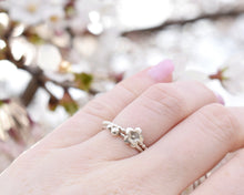 Load image into Gallery viewer, Flower Stacking Rings, Silver Flower Ring, Flower Rings Women, Dainty Stacking Ring, Stacking Band Women, Present Her, Layering Rings