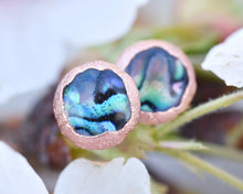 Load image into Gallery viewer, Abalone Shell Earrings, Abalone Jewelry, Paua Abalone, Shell Studs, Natural Shell Jewelry, Copper Stud Earrings, Organic Earrings