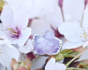 Silver Amethyst Ring, Raw Silver Jewelry, Organic Silver Ring, Amethyst Birthstone, Raw Amethyst Jewelry, February Ring, Romantic Gifts Her