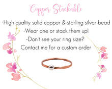 Load image into Gallery viewer, Copper Stackable Rings, Hammered Copper Ring, Copper Silver Ring, Mixed Metal Ring, Dainty Stackable Rings, Minimalist Stackable Rings