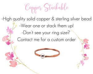 Copper Stackable Rings, Hammered Copper Ring, Copper Silver Ring, Mixed Metal Ring, Dainty Stackable Rings, Minimalist Stackable Rings