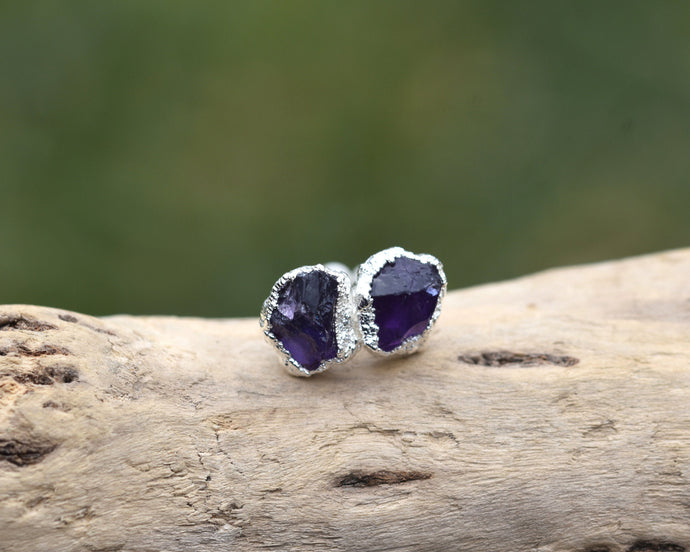 Amethyst Stud Earrings, Amethyst Earrings, Amethyst Studs, Purple Studs, Raw Crystal Earrings, February Birthstone, Birthstone Gifts Her