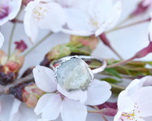 Load image into Gallery viewer, Organic Silver Ring, Organic Jewelry, Organic Silver Jewelry, Raw Silver Jewelry, Aquamarine Ring, Electroformed Ring, Birthstone Gifts Her