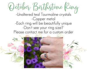 October Birthstone Ring, October Birthday, October Ring, Birthstone Gifts Her, Unique Birthstone Jewelry, Blue Tourmaline Ring