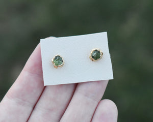 Peridot Studs, Peridot Jewelry, Peridot Birthstone, Raw Studs, Gemstone Studs,  Raw Gem Jewelry, Raw Gold Jewelry, Rough Earrings