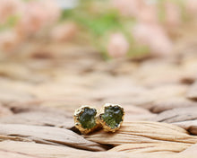 Load image into Gallery viewer, Peridot Studs, Peridot Jewelry, Peridot Birthstone, Raw Studs, Gemstone Studs,  Raw Gem Jewelry, Raw Gold Jewelry, Rough Earrings