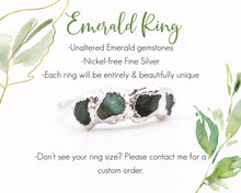 Load image into Gallery viewer, May Birthstone Ring, May Birthday Gifts, May Jewelry, Birthstone Stackable, Birthstone Gift Her, Emerald Ring Silver, Raw Gem Ring