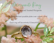 Load image into Gallery viewer, Morganite Ring, Morganite Ring Gold, Oval Morganite Ring, Oval Gold Ring, Electroformed Ring, Electroformed Jewelry, Clear Crystal Rings