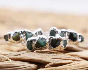 May Birthstone Ring, May Birthday Gifts, May Jewelry, Birthstone Stackable, Birthstone Gift Her, Emerald Ring Silver, Raw Gem Ring
