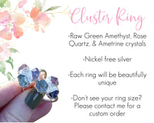 Load image into Gallery viewer, Raw Cluster Ring, Crystal Cluster Ring, Gemstone Cluster Ring, Raw Crystal Jewelry, Raw Rose Quartz Ring, Multi Gem Ring, Ametrine Ring