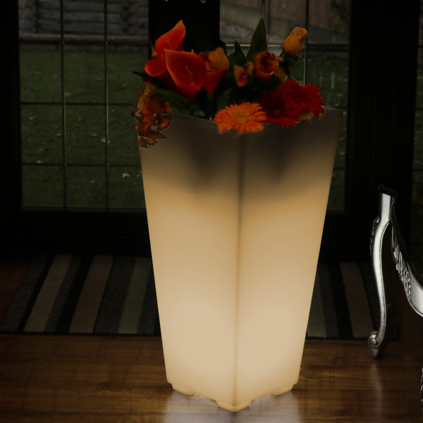 Tall 75cm Floor Standing Vase, LED Flower Plant Pot, Decorative E27 Lamp, Warm White