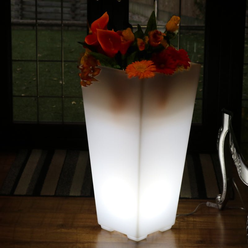 Tall LED Flower Vase Plant Pot, 75cm Illuminated Decorative Floor Standing Lamp, E27, White