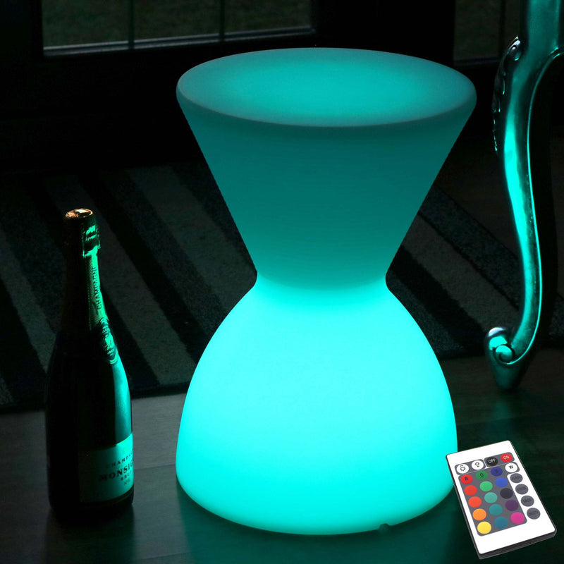 Light Up LED Stool, Cordless RGB Floor Lamp with Remote, 43cm Tall