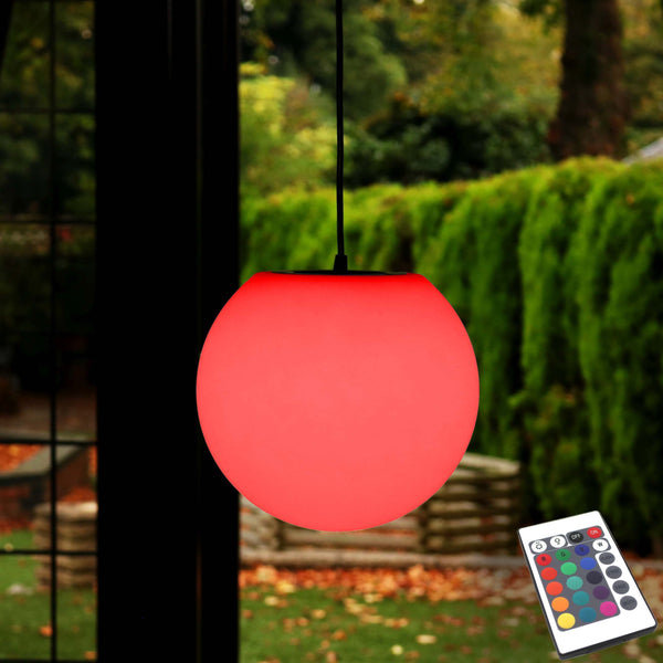 15cm Mains Powered Ball Light, Hanging Pendant Lamp Colour Changing LED + Remote