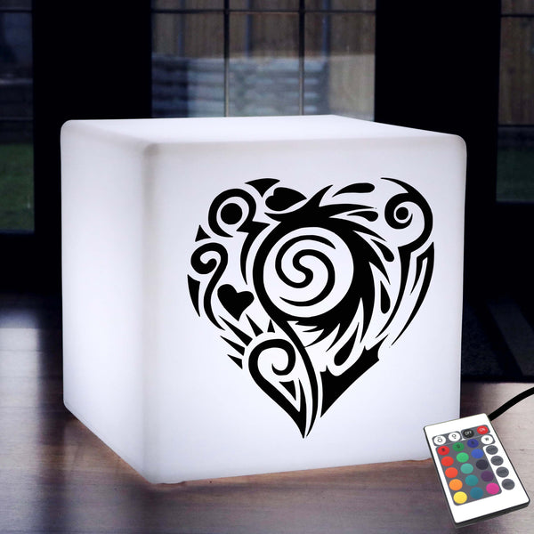 Unique Handcrafted Light, Lounge Ambient LED Stool for Hotel, Cube , Mains Powered, Heart Lamp