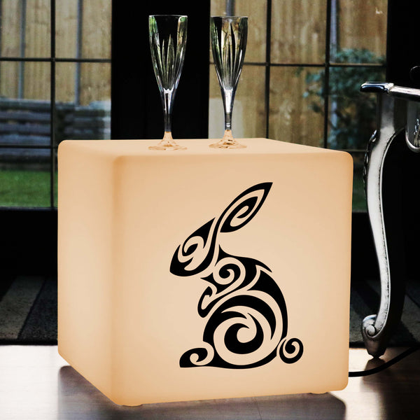 Hand Crafted Light Box, Bedroom LED Stool Seat for Event, Cube , E27, Warm White, Rabbit Gift Lamp
