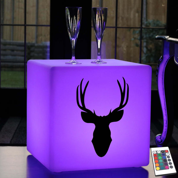 Unique Gift Light for Him, Lounge Dimmable Wireless Illuminated Stool for Night Club, Cube , Deerhead Light
