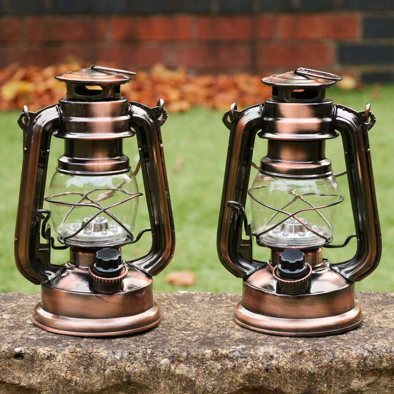 2 LED Storm Lantern Lamps, 19cm Vintage Retro Hurricane Battery Lights