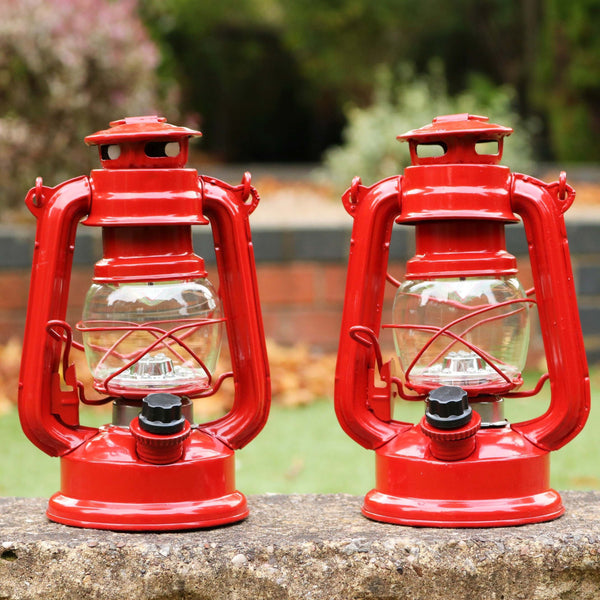 2 Battery Powered Hurricane Lamps, 19cm Hanging LED Storm Oil Lanterns