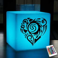 Funky Gift Light for Him, Waterproof RGB Rechargeable Stool Seat Side Table for Birthday, Cube , Heart Lamp