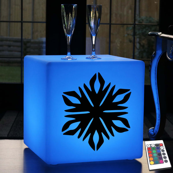 Hand Made Gift Light for Her, Lounge Colour Changing Rechargeable Illuminated Seat for Hotel, Cube , Snowflake Light