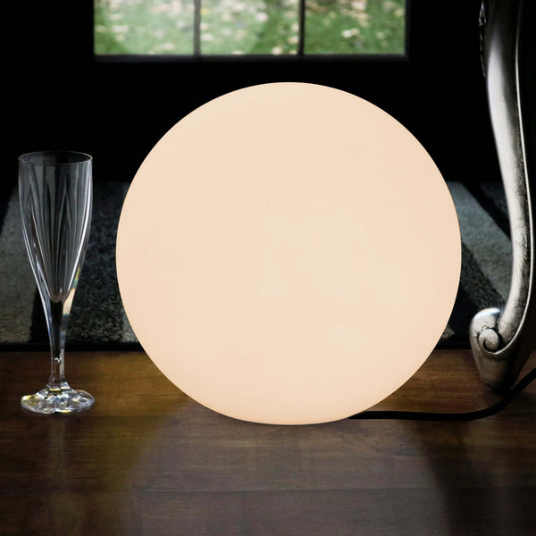 Decorative Table Lamp, 30cm LED Orb (Warm White E27 Bulb Installed)