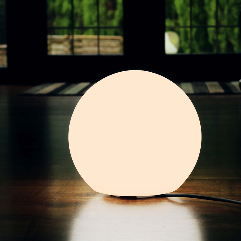 Warm White Designer Sphere Light, 20cm Mains Powered Lamp