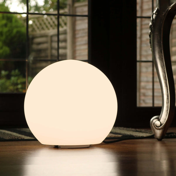 20cm Dimmable Orb Light, Mains Operated Table Lamp - Warm White E27