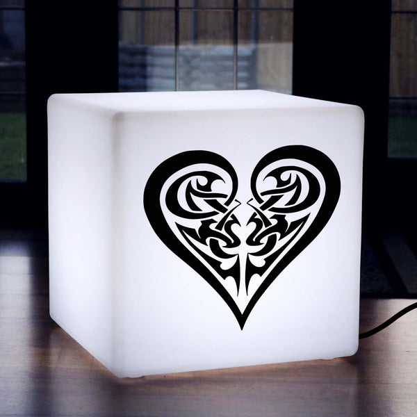 Hand Crafted Thoughtful Gift Light, LED Stool Seat Furniture for Restaurant, Cube , E27, White, Fancy Love Heart Light
