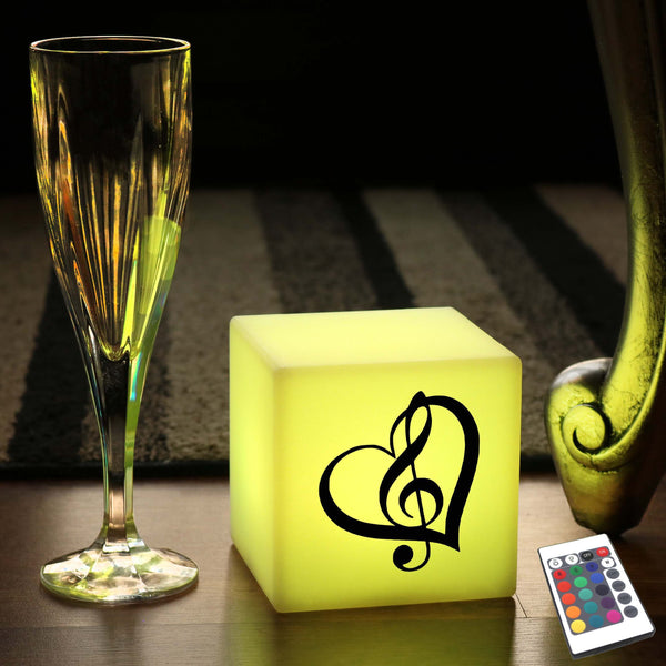 Creative Handmade Light Box, LED Remote Controlled Battery Operated Table Lamp for Event, Cube , Treble Clef Music Light Gift